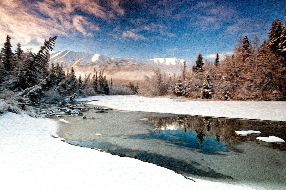 Oil Painting rendition of  morning light and early winter snow adorn the North Fork of Eagle River in Chugach State Park near Anchorage in Southcentral Alaska.