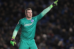 David Stockdale of Brighton and Hove Albion gives his team instructions - Mandatory byline: Paul Terry/JMP - 05/02/2016 - FOOTBALL - Falmer Stadium - Brighton, England - Brighton v Brentford - Sky Bet Championship