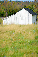 Weathered farm shed on the property of the Joseph Poffenberger Farm Antietam National Battlefield Sharpsburg Maryland USA.