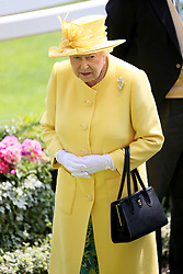 Her Majesty The Queen arriving during day two of Royal Ascot at Ascot Racecourse.
