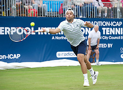 LIVERPOOL, ENGLAND - Friday, June 17, 2011: Fernando Gonzalez (CHI) in action during day two of the Liverpool International Tennis Tournament at Calderstones Park. (Pic by David Rawcliffe/Propaganda)