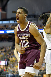 Feb 29, 2020; Columbia, Missouri, USA; Mississippi State Bulldogs guard Robert Woodard II (12) celebrates after a score during the second half against the Missouri Tigers at Mizzou Arena. Mandatory Credit: Denny Medley-USA TODAY Sports