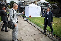 © Licensed to London News Pictures. 04/09/2019. London, UK. Labour MP STEPHEN KINNOCK and RORY STEWART MP share a brief conversation about a Brexit bill, in Westminster, London. British Prime Minister Boris Johnson has a called for a general election after losing his first commons vote and losing his majority, removing his control of parliament. Photo credit: Ben Cawthra/LNP