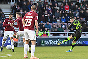 Forest Green Rovers forward (on loan from Celtic) Jack Aitchison (29)  takes a shot at goal during the EFL Sky Bet League 2 match between Northampton Town and Forest Green Rovers at the PTS Academy Stadium, Northampton, England on 14 December 2019.