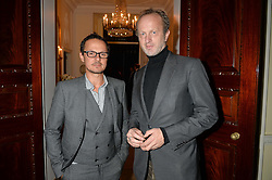 Left to right, JONATHAN YEO and JOHNNIE SHAND-KYDD at a party to kick off London Fashion Week hosted by US Ambassador Matthew Barzun and Mrs Brooke Brown Barzun with Alexandra Shulman in association with J.Crew hrld at Winfield House, Regent's Park, London on 18th September 2015.