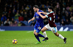 Christian Fuchs of Leicester City goes past George Boyd of Burnley - Mandatory by-line: Robbie Stephenson/JMP - 31/01/2017 - FOOTBALL - Turf Moor - Burnley, England - Burnley v Leicester City - Premier League