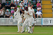 Wicket - Luke Fletcher of Nottinghamshire is given out LBW as the slips celebrate during the Specsavers County Champ Div 1 match between Somerset County Cricket Club and Nottinghamshire County Cricket Club at the Cooper Associates County Ground, Taunton, United Kingdom on 10 June 2018. Picture by Graham Hunt.