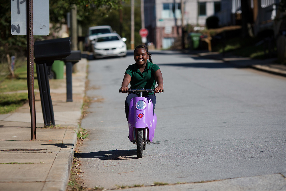 Street views of Vine City on Monday, Oct. 16, 2017. Octavious Dewberry, 8. Mother is Laquetta Stokely, 663 Magnolia Street.<br /> <br /> Photo by Kevin D. Liles/kevindliles.com