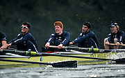 LONDON, ENGLAND - Thursday  13/12/2012 : Oxford University crew, Hurricane. right to left: Bow, James STEPHENSON, 2: Oliver Bristowe, 3: Joseph Dawson and 4: Benjamin French, racing in the annual Varsity trial 8's for The BNY Melon University Boat Race over the Championship Course [Putney to Mortlake]. The River Thames, England. (Mandatory Credit/ Peter  Spurrier/Intersport Images)
