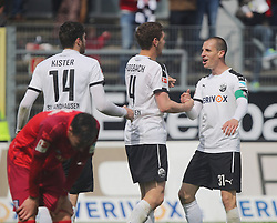 24.04.2016, Hardtwald, Sandhausen, GER, 2. FBL, SV 1916 Sandhausen vs FSV Frankfurt, 31. Runde, im Bild Tim Kister (SV Sandhausen) und Stefan Kulovits (SV Sandhausen) // during the 2nd German Bundesliga 31th round match between SV 1916 Sandhausen vs FSV Frankfurt at the Hardtwald in Sandhausen, Germany on 2016/04/24. EXPA Pictures &copy; 2016, PhotoCredit: EXPA/ Eibner-Pressefoto/ Bermel<br /> <br /> *****ATTENTION - OUT of GER*****