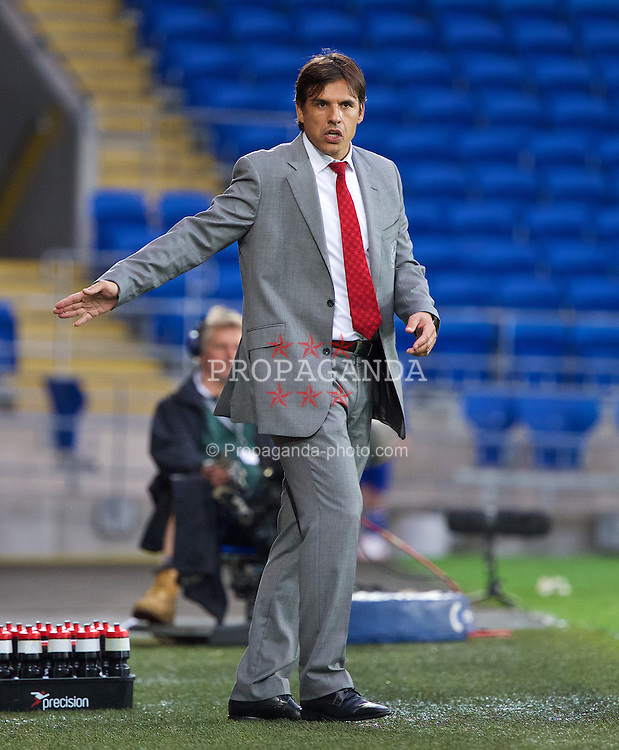 CARDIFF, WALES - Wednesday, August 14, 2013: Wales' manager Chris Coleman against Republic of Ireland during an International Friendly at the Cardiff City Stadium. (Pic by David Rawcliffe/Propaganda)