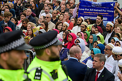 © Licensed to London News Pictures. 05/06/2017. London, UK. Members of the muslim community attend a vigil at Potters Fields Park outside City Hall in London for those who lost their lives in the London Bridge terror attack. Three men attacked members of the public  after a white van rammed pedestrians on London Bridge. Ten people including the three suspected attackers were killed and 48 injured in the attack. Photo credit: Ben Cawthra/LNP