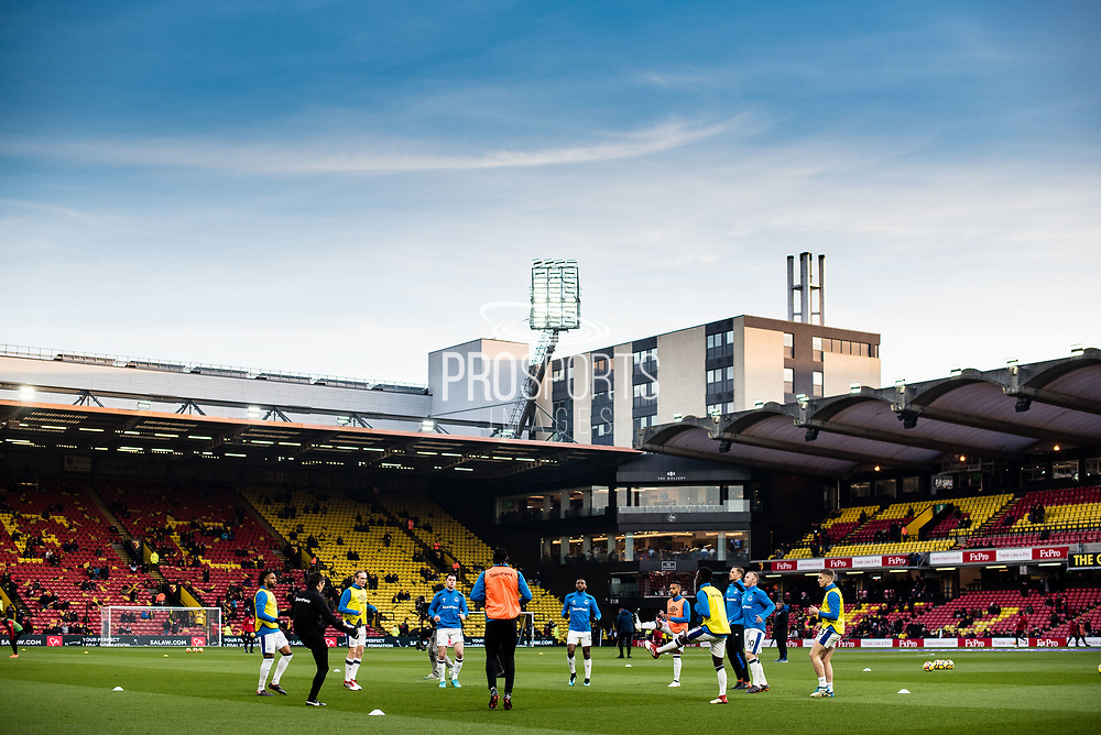 Everton team warms up before  the Premier League match between Watford and Everton at Vicarage Road, Watford, England on 24 February 2018. Picture by Sebastian Frej.