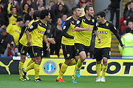 Picture by David Horn/Focus Images Ltd +44 7545 970036<br /> 14/09/2013<br /> Daniel Pudil of Watford (2nd right) celebrates scoring with team mates  during the Sky Bet Championship match at Vicarage Road, Watford.