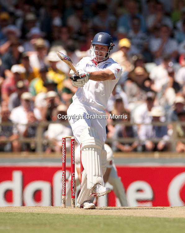 Andrew Strauss bats during the third Ashes test match between Australia and England at the WACA (West Australian Cricket Association) ground in Perth, Australia. Photo: Graham Morris (Tel: +44(0)20 8969 4192 Email: sales@cricketpix.com) 17/12/10
