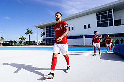 Marlon Pack of Bristol City leads out his side during the 2nd leg of the match after the previous day's game was abandoned at half time due to extreme weather - Rogan/JMP - 14/07/2019 - IMG Academy, Bradenton - Florida, USA - Bristol City v Derby County - Pre-Season Tour Day 3.