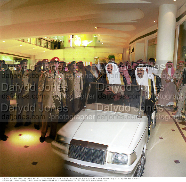 Prince Sultan Bin Abdul Aziz and Prince Bandar Bin Saud.  Riyadh20. Opening of Al Faisaliah and Harvey Nichols.  May 2000.  Riyadh, Saudi  Arabia. © Copyright Photograph by Dafydd Jones 66 Stockwell Park Rd. London SW9 0DA Tel 020 7733 0108 www.dafjones.com