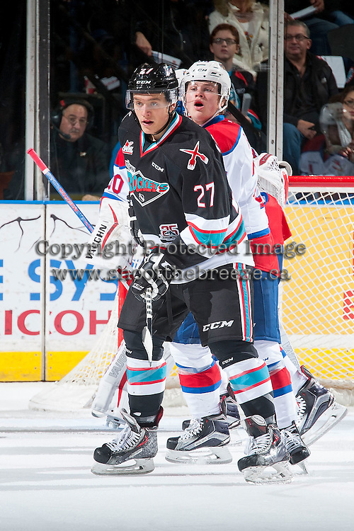 KELOWNA, CANADA - NOVEMBER 20: Calvin Thurkauf #27 of Kelowna Rockets looks for the pass against the Edmonton Oil Kings on November 20, 2015 at Prospera Place in Kelowna, British Columbia, Canada.  (Photo by Marissa Baecker/ShoottheBreeze)  *** Local Caption *** Calvin Thurkauf;