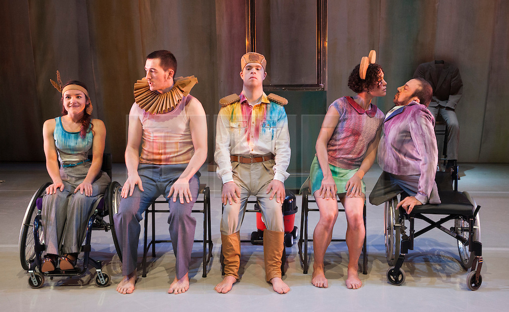 """© Licensed to London News Pictures. 13/05/2014. London, UK. L-R: Laura Jones, David Willdridge, Chris Pavia; Amy Butler and David Toole. Sadler's Wells present the series """"=dance"""", dance productions by disabled and non-disabled performers. Stopgap Dance Company perform """"Artificial Things"""". Artificial Things is the debut production by Stopgap's Artistic Director Lucy Bennett, who is one of UK's leading experts in integrated choreography. Performers: David Toole, Chris Pavia, Laura Jones, Amy  Butler and David Willdridge. Photo credit: Bettina Strenske/LNP"""
