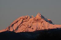 Mt. Garibaldi glows with pink alpenglow, near Squamish, BC