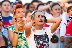 © Licensed to London News Pictures. 11/07/2016. Brighton, UK. Thousands of supporters watch the World Cup 2018 Semi Final on the beach in Brighton as England loses 2-1 against Croatia. Photo credit: Hugo Michiels/LNP