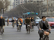 Beijing China people commuting to work in the morning