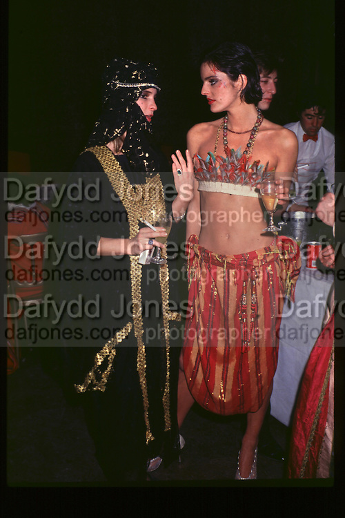 Minnie Scott(right), Fancy dress party at Christies, 1984  approx© Copyright Photograph by Dafydd Jones 66 Stockwell Park Rd. London SW9 0DA Tel 020 7733 0108 www.dafjones.com