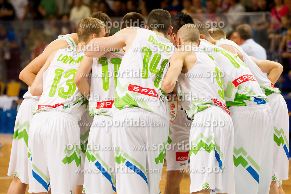 Players of Slovenia during basketball match between National team of Slovenia and Italy in First Round of U20 Men European Championship Slovenia 2012, on July 12, 2012 in Domzale, Slovenia.  (Photo by Vid Ponikvar / Sportida.com)