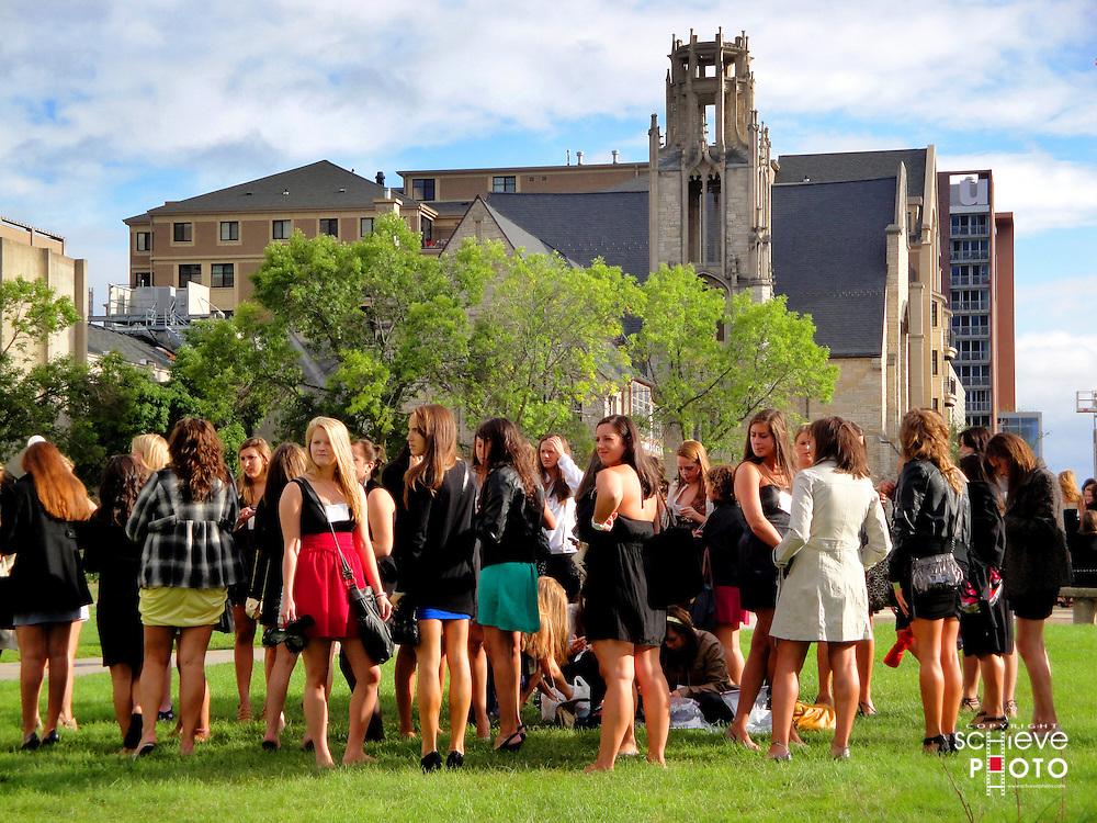 Sorority girls on the University of Wisconsin-Madison campus.