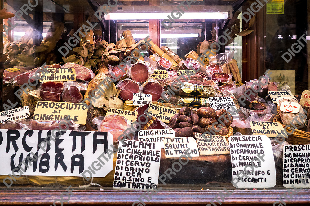 Local store at Orvieto selling charcuterie typical from the Umbria region.  Italy 2017.