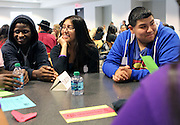 Early College High School seniors converse with college-bound peers at the Senior Summit on Tuesday, May 14, 2013.