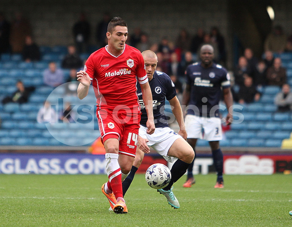 Cardiff City Federico Macheda on the ball  during the Sky Bet Championship match between Millwall and Cardiff City at The Den, London, England on 25 October 2014. Photo by Phil Duncan.