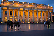 People in front of the Grand Theatre - Opera National de Bordeaux, Place de la Comedie, Bordeaux, France