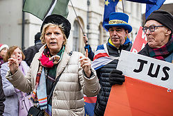© Licensed to London News Pictures. 10/01/2019. London, UK. Conservative MP Anna Soubry with pro- and anti-Brexit protesters opposite Parliament. Photo credit: Rob Pinney/LNP
