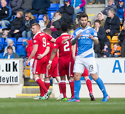 Aberdeen players cele the second goal. half  time : St Johnstone 0 v 2 Aberdeen. SPFL Ladbrokes Premiership game played 15/4/2017 at St Johnstone's home ground, McDiarmid Park.