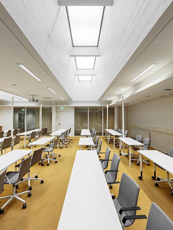 Aalto University campus main building designed by Alvar Aalto in Espoo, Finland. Restoration designed by NRT architects.