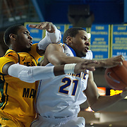 Delaware Forward Marvin King-Davis (21) battles George Mason Forward Jonathan Arledge (5) for the loose ball in the second half of a regular season NCAA basketball game against George Mason Saturday, March 2, 2013 at the Bob Carpenter Center in Newark Delaware.