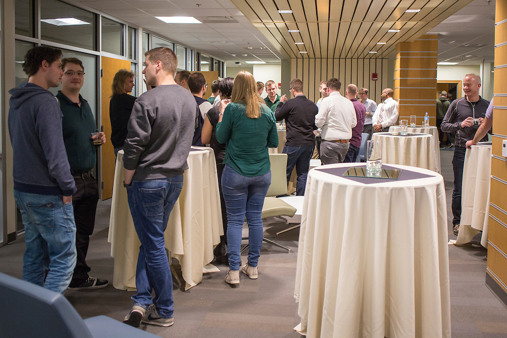 Participants in the College of Business's day of training with Sogeti enjoy refreshments during the reception on March 10, 2016. Photo by Emily Matthews