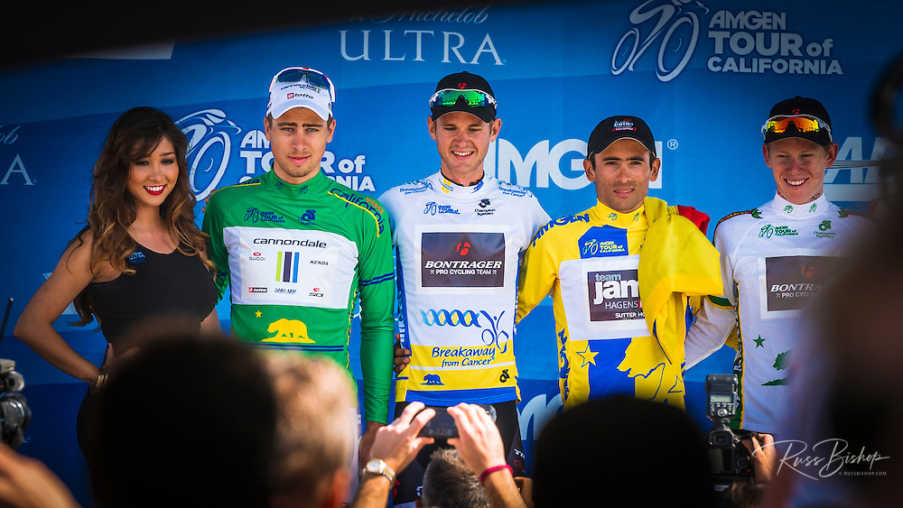 Professional cyclists on the winners podium at the Amgen Tour of California, Santa Barbara, California USA