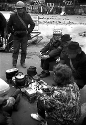 Muscovite prepare a tea on their barricades in downtown of Moscow during a constitutional crisis in Moscow, Russia, 02 October 1993. The constitutional crisis of 1993 was a political stand-off between the Russian president and the Russian parliament that was resolved by using military force. The relations between the president and the parliament had been deteriorating for a while. The constitutional crisis reached a tipping point on 21 September 1993, when President Boris Yeltsin purported to dissolve the country's legislature (the Congress of People's Deputies and its Supreme Soviet), although the president did not have the power to dissolve the parliament according to the then-current constitution. Yeltsin used the results of the referendum of April 1993 to justify his actions. In response, the parliament declared that the president's decision was null and void, impeached Yeltsin and proclaimed vice president Aleksandr Rutskoy to be acting president.The situation deteriorated at the beginning of October. On 3 October, demonstrators removed police cordons around the parliament and, urged by their leaders, took over the Mayor's offices and tried to storm the Ostankino television centre. The army, which had initially declared its neutrality, by Yeltsin's orders stormed the Supreme Soviet building in the early morning hours of 4 October, and arrested the leaders of the resistance. The ten-day conflict had seen the deadliest street fighting in Moscow since October 1917.[2] According to government estimates, 187 people were killed and 437 wounded, while sources close to Russian communists put the death toll at as high as 2,000.