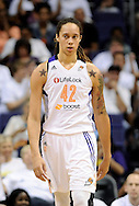 Sep 29, 2013; Phoenix, AZ, USA; Phoenix Mercury center Brittney Griner (42) reacts on the court during the game against the Minnesota Lynx at US Airways Center. The Lynx defeated the Mercury 72-65. Mandatory Credit: Jennifer Stewart-USA TODAY Sports