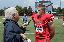 01 August 2017:   Cole Bumpus interviewed by Steve Robinson during 2017 Illinois State Redbirds Football Media Day at Hancock Stadium in Normal IL (Photo by Alan Look)