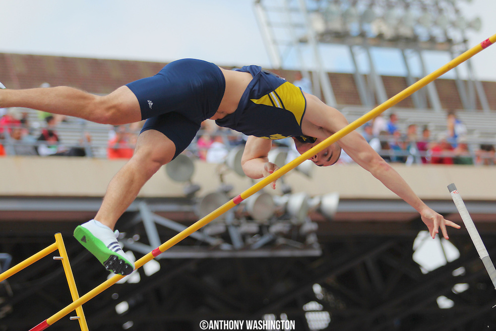 Jack Greenlee of the University of Michigan makes an attempt in the College Men's Pole Vault at the Penn Relays athletic meet on Friday, April 29, 2011 in Philadelphia, PA.