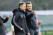 Forest Green Rovers assistant manager, Scott Lindsey and Forest Green Rovers manager, Mark Cooper during the EFL Sky Bet League 2 match between Forest Green Rovers and Morecambe at the New Lawn, Forest Green, United Kingdom on 17 November 2018.