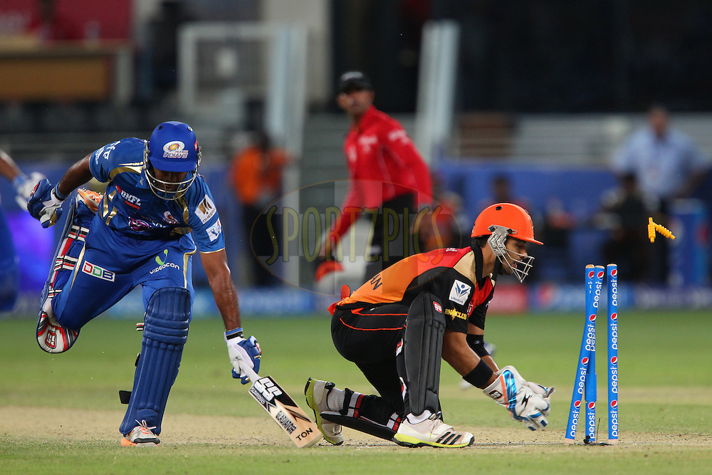 Amit Paunikar of the Sunrisers Hyderabad tries to run out Ambati Rayudu of the Mumbai Indians during match 20 of the Pepsi Indian Premier League Season 2014 between the Mumbai Indians and the Sunrisers Hyderabad held at the Dubai International Stadium, Dubai, United Arab Emirates on the 30th April 2014<br /> <br /> Photo by Ron Gaunt / IPL / SPORTZPICS