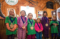 Lily Bishop, Annie Waldvogel, Charlotte Hyland, Addison Baron, McKenzie Mowers and Harper Burlage with their Meister Cup medals in the 4-5 year old age group at the Gunstock Ski Club awards ceremony on Wednesday afternoon.  (Karen Bobotas/for the Laconia Daily Sun)