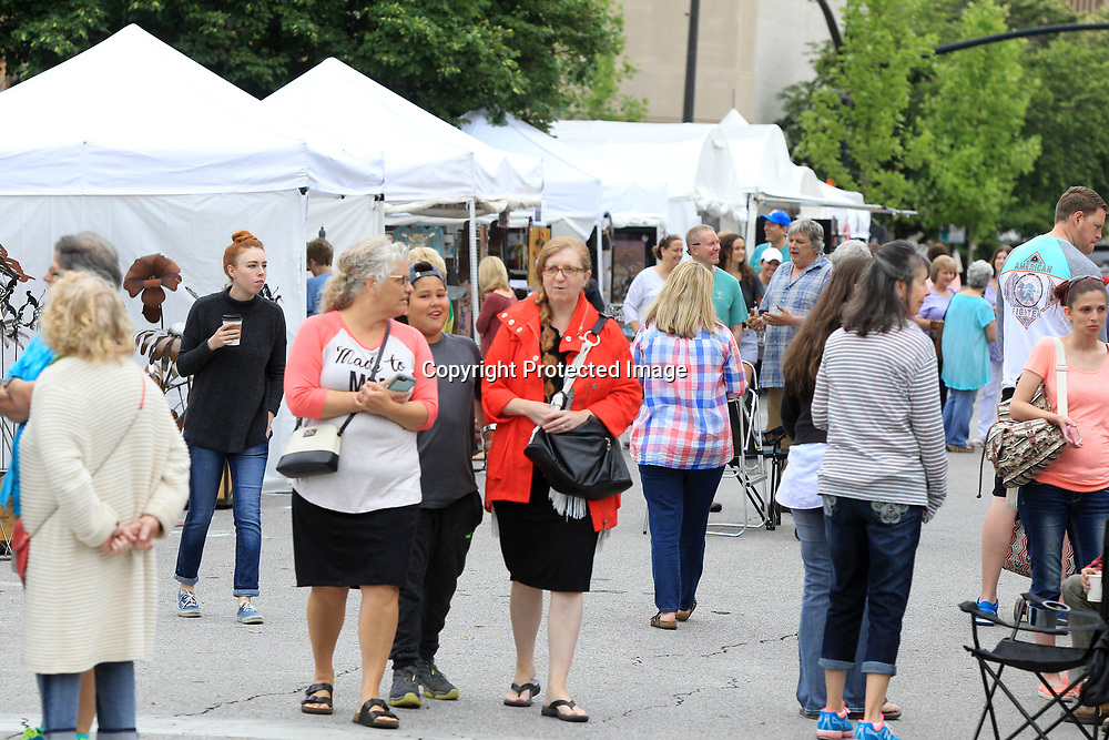 Area residents and out of towners walk around downtown Tupelo on Saturday morning shopping the different artist's tents at the GumTree Arts Festival.