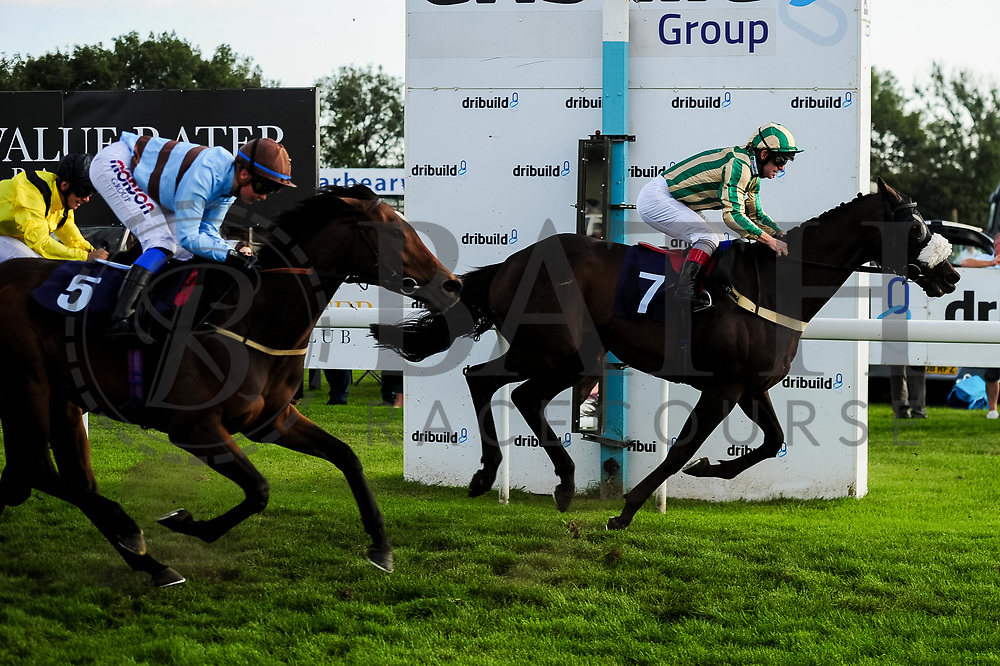Hope Is High ridden by Megan Nicholls and trained by John Berry in the Visit Valuerater.Co.Uk Nursery Handicap race. The Detainee ridden by Franny Norton and trained by Neil Mulhollan in the Visit Valuerater.Co.Uk Nursery Handicap race.  - Ryan Hiscott/JMP - 15/09/2019 - PR - Bath Racecourse - Bath, England - Race Meeting at Bath Racecourse