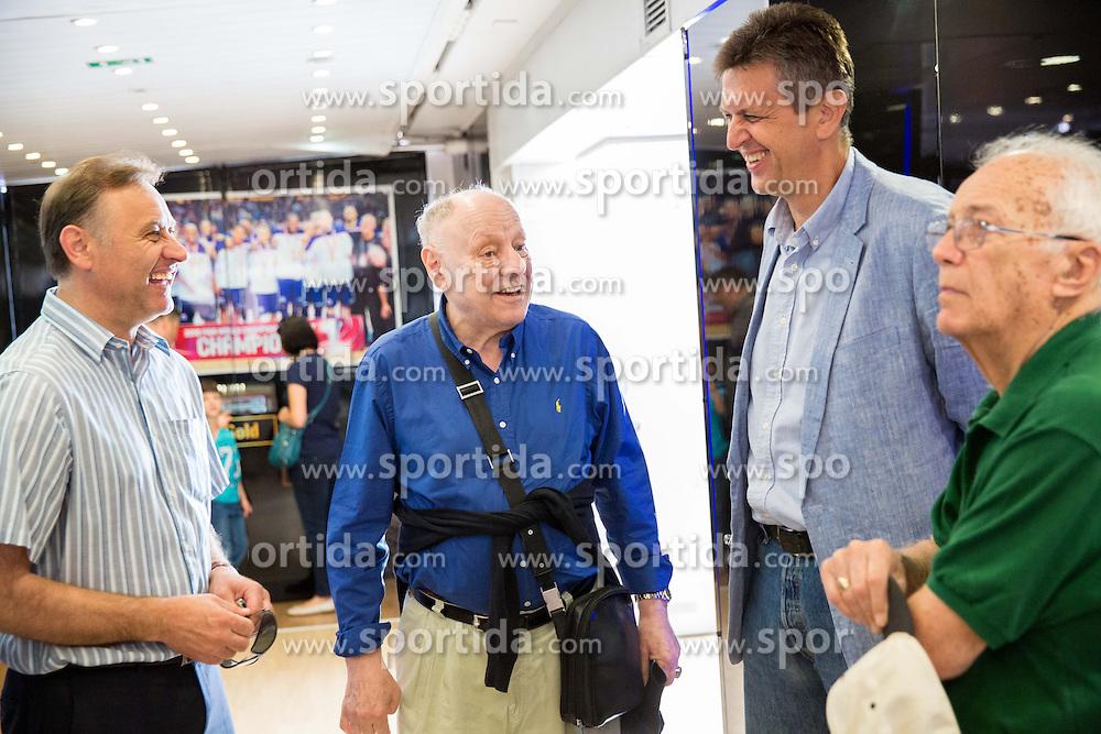 Zeljko Dragsic, Mirko Novosel and Predrag Bogosavljev at FIBA Basketball World Cup Spain 2014 Trophy Tour, on June 22, 2014 in Ban Jelacic Square, Zagreb, Croatia. Photo By Vid Ponikvar / Sportida
