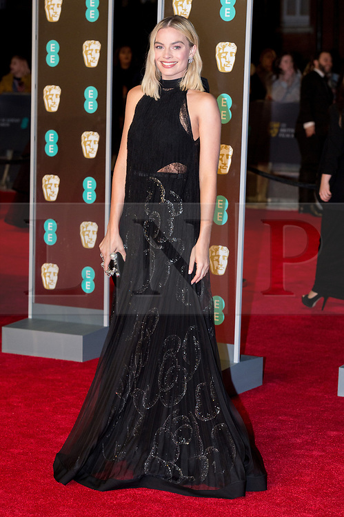 © Licensed to London News Pictures. 18/02/2018. MARGOT ROBBIE arrives on the red carpet for the EE British Academy Film Awards 2018, held at the Royal Albert Hall, London, UK. Photo credit: Ray Tang/LNP